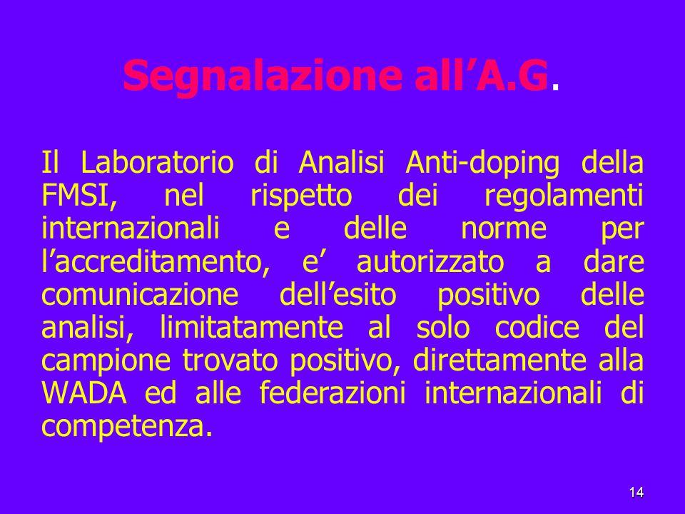 14 Segnalazione all'A.G.