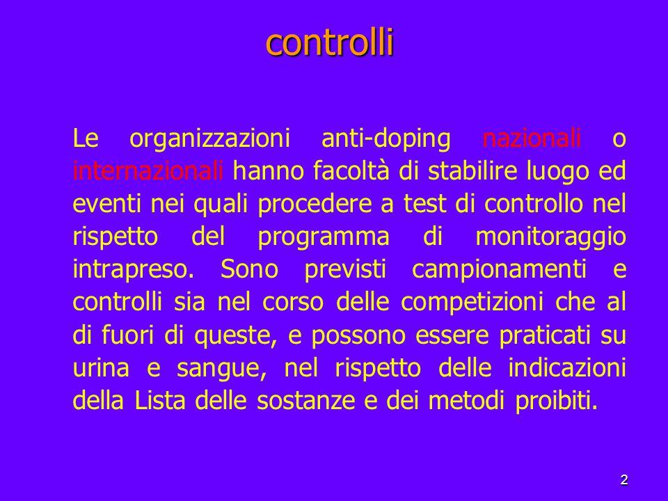 2 controlli Le organizzazioni anti-doping nazionali o internazionali hanno facoltà di stabilire luogo ed eventi nei quali procedere a test di controllo nel rispetto del programma di monitoraggio intrapreso.