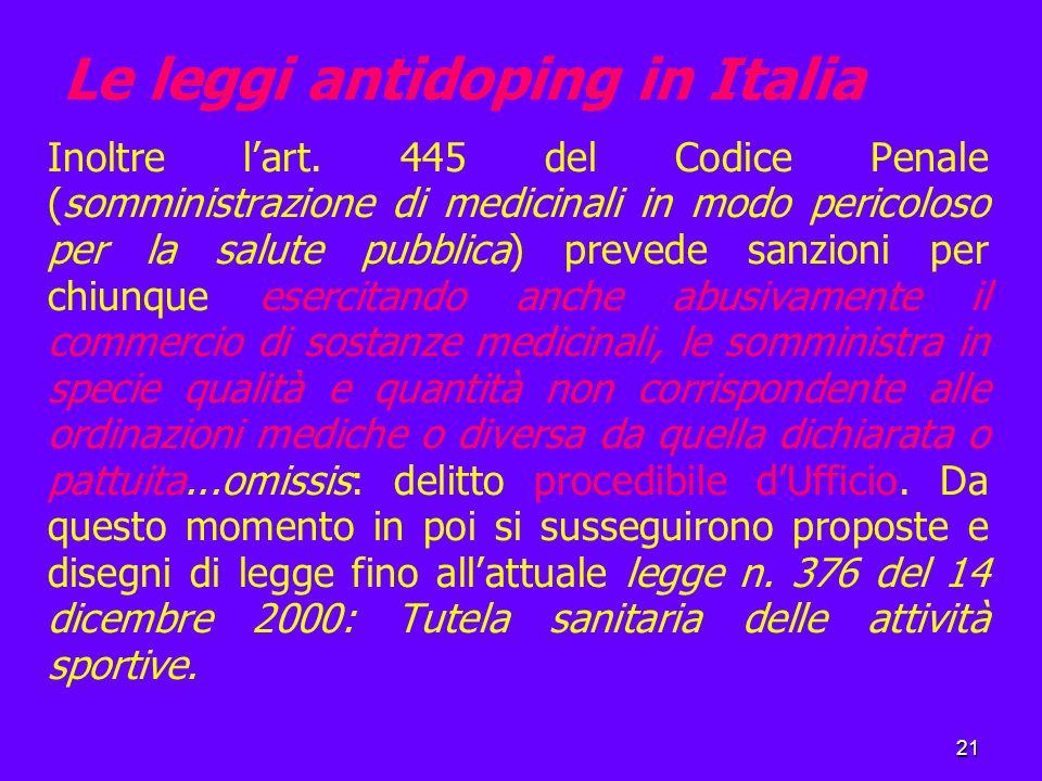 21 Le leggi antidoping in Italia Inoltre l'art.