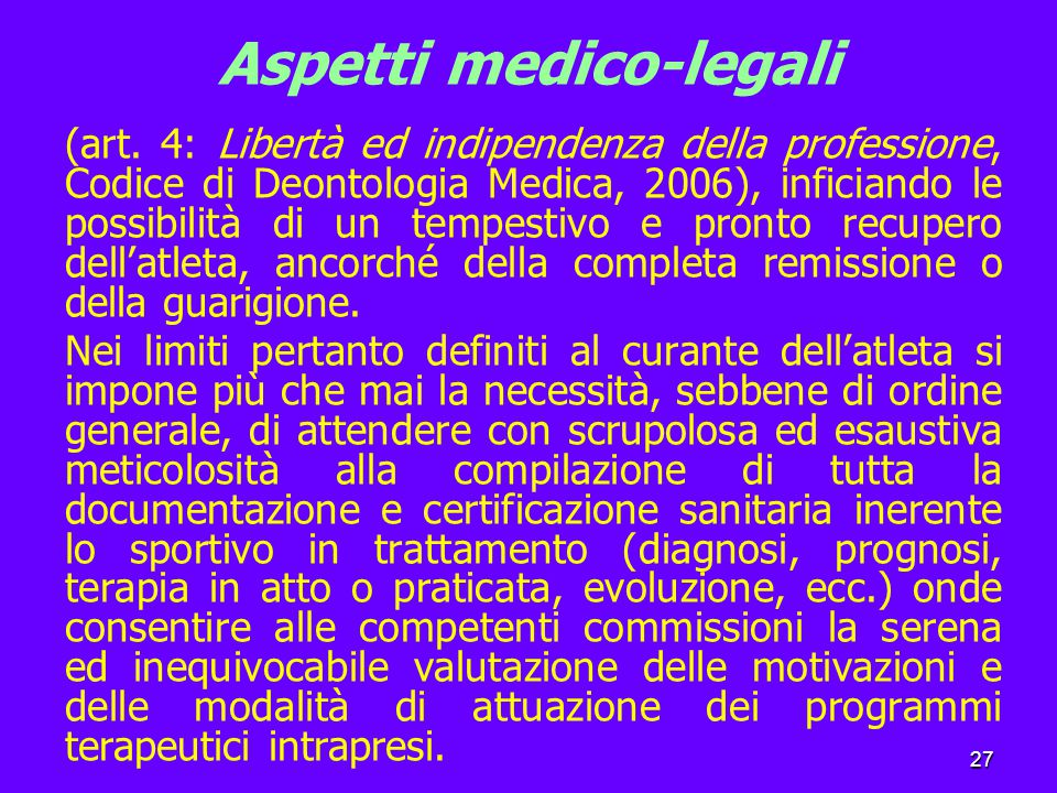 27 Aspetti medico-legali (art.