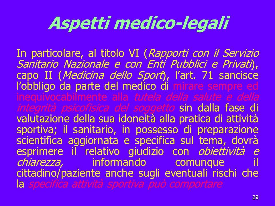 29 Aspetti medico-legali In particolare, al titolo VI (Rapporti con il Servizio Sanitario Nazionale e con Enti Pubblici e Privati), capo II (Medicina dello Sport), l'art.