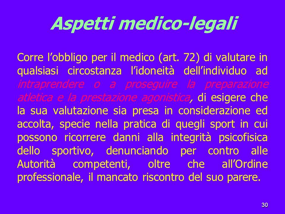 30 Aspetti medico-legali Corre l'obbligo per il medico (art.