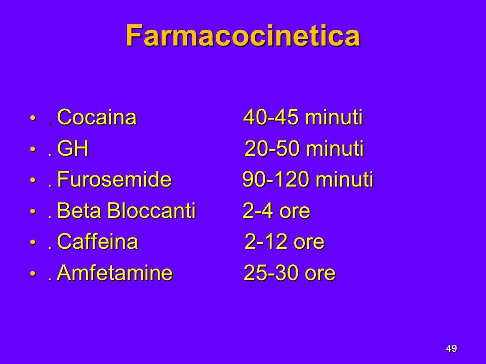 49 Farmacocinetica. Cocaina 40-45 minuti. Cocaina 40-45 minuti.