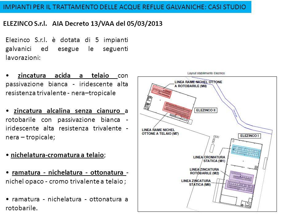 IMPIANTI PER IL TRATTAMENTO DELLE ACQUE REFLUE GALVANICHE: CASI STUDIO ELEZINCO S.r.l. AIA Decreto 13/VAA del 05/03/2013 Elezinco S.r.l. è dotata di 5