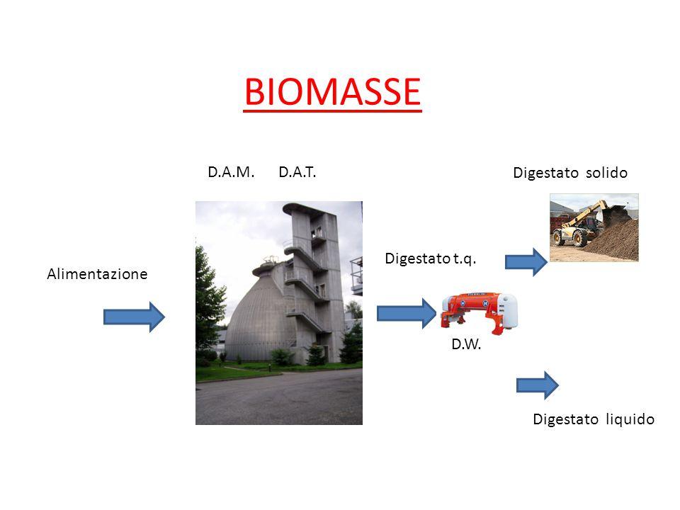 BIOMASSE Alimentazione Digestato t.q. Digestato solido Digestato liquido D.W. D.A.M.D.A.T.