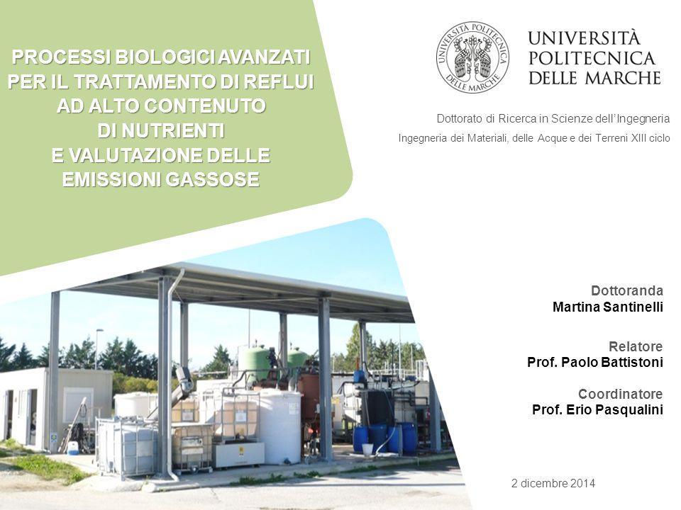 Dottoranda Martina Santinelli Relatore Prof. Paolo Battistoni Coordinatore Prof. Erio Pasqualini 2 dicembre 2014 Dottorato di Ricerca in Scienze dell'