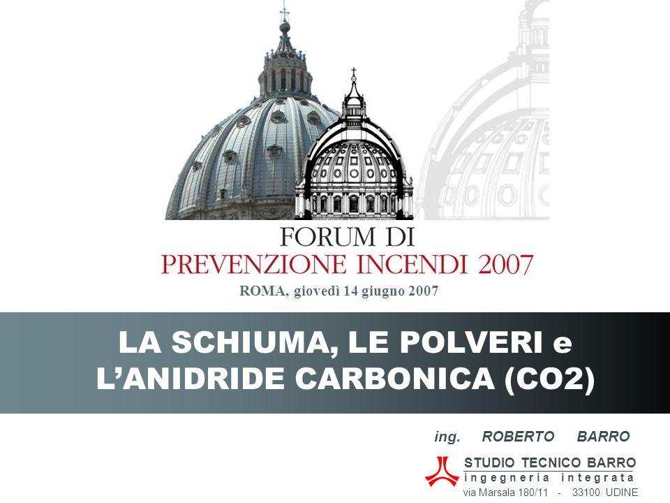 LA SCHIUMA, LE POLVERI e L'ANIDRIDE CARBONICA (CO2) ROMA, giovedì 14 giugno 2007 ing. ROBERTO BARRO STUDIO TECNICO BARRO i n g e g n e r i a i n t e g
