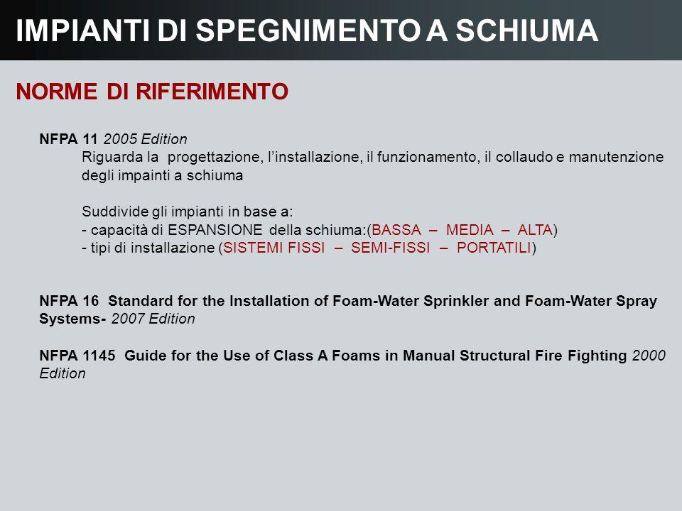 IMPIANTI DI SPEGNIMENTO A SCHIUMA NORME DI RIFERIMENTO NFPA 16 Standard for the Installation of Foam-Water Sprinkler and Foam-Water Spray Systems- 200