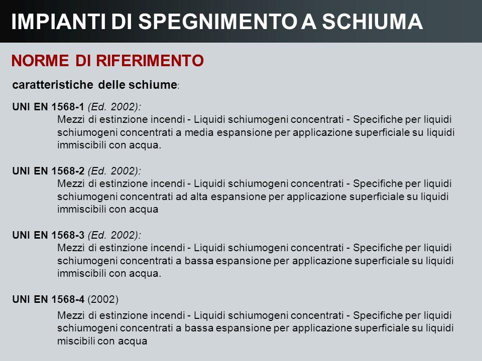IMPIANTI DI SPEGNIMENTO A SCHIUMA NORME DI RIFERIMENTO caratteristiche delle schiume : UNI EN 1568-1 (Ed. 2002): Mezzi di estinzione incendi - Liquidi