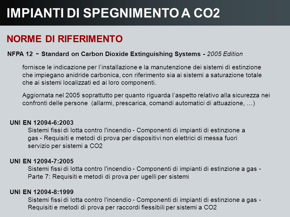 IMPIANTI DI SPEGNIMENTO A CO2 NORME DI RIFERIMENTO NFPA 12 - Standard on Carbon Dioxide Extinguishing Systems - 2005 Edition fornisce le indicazione p
