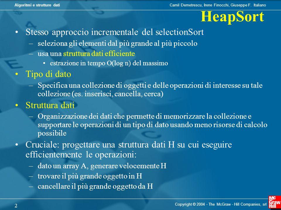 Camil Demetrescu, Irene Finocchi, Giuseppe F.ItalianoAlgoritmi e strutture dati fixHeap (i,A) 1.