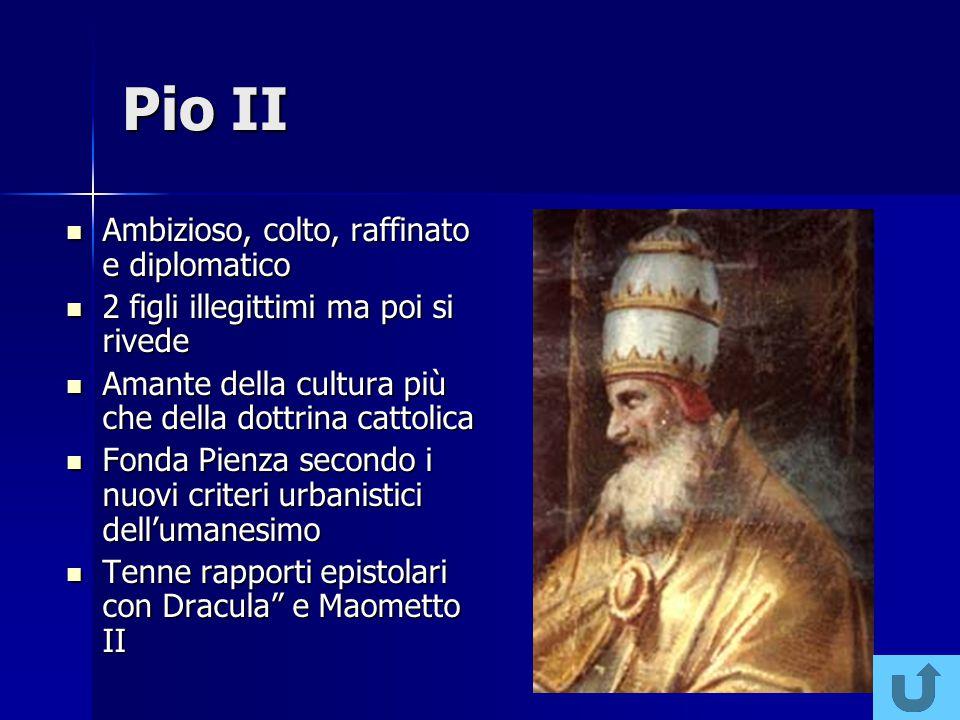 Niccolò V Fece il grande Giubileo del 1450 Fece il grande Giubileo del 1450 Più politico che religioso esortò invano i principi a soccorrere Bisanzio Più politico che religioso esortò invano i principi a soccorrere Bisanzio Favorì la pacificazione fra gli stati italiani a Lodi Favorì la pacificazione fra gli stati italiani a Lodi Umanista, diede inizio al mecenatismo papale Umanista, diede inizio al mecenatismo papale
