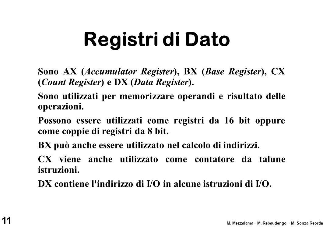 11 M. Mezzalama - M. Rebaudengo - M. Sonza Reorda Registri di Dato Sono AX (Accumulator Register), BX (Base Register), CX (Count Register) e DX (Data