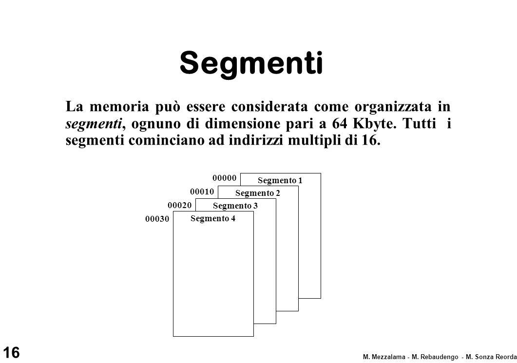 16 M. Mezzalama - M. Rebaudengo - M. Sonza Reorda Segmenti La memoria può essere considerata come organizzata in segmenti, ognuno di dimensione pari a