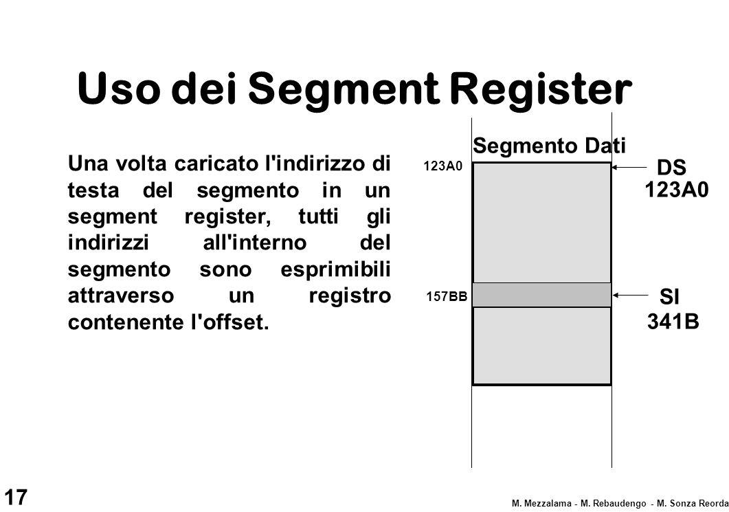 17 M. Mezzalama - M. Rebaudengo - M. Sonza Reorda Uso dei Segment Register Una volta caricato l'indirizzo di testa del segmento in un segment register