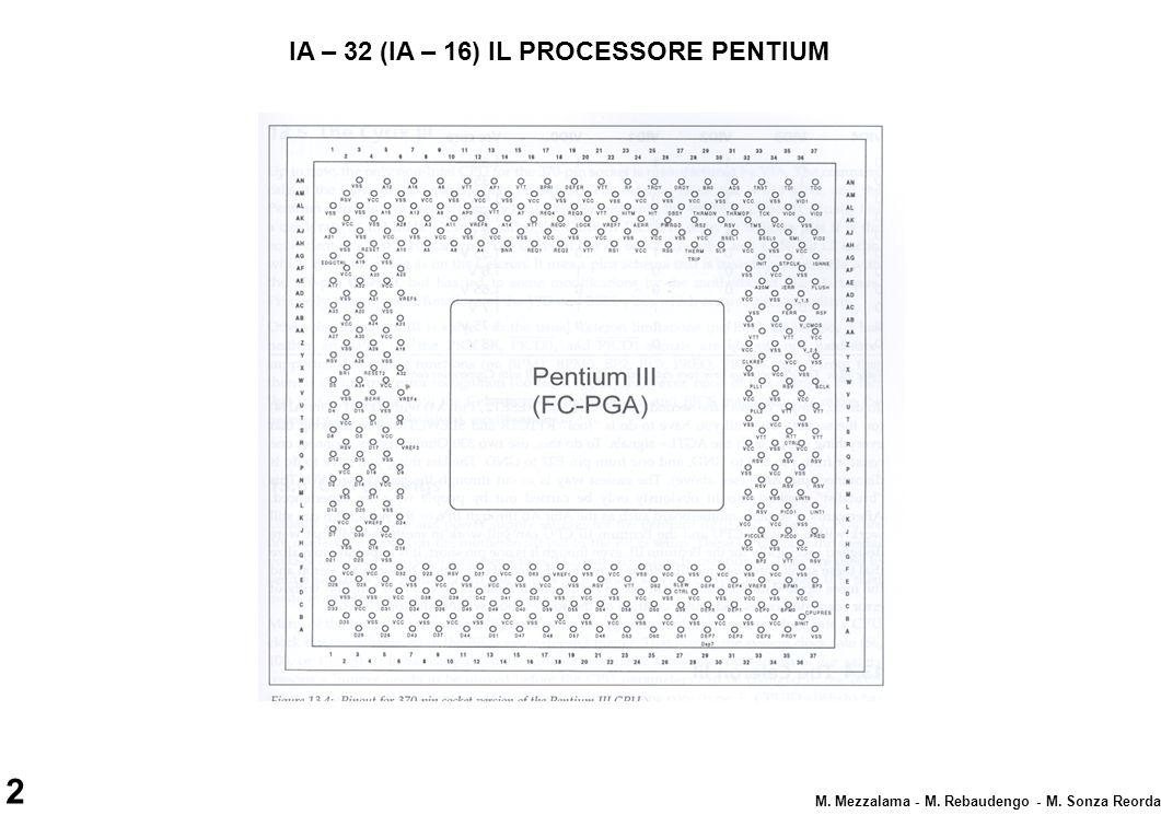 2 M. Mezzalama - M. Rebaudengo - M. Sonza Reorda IA – 32 (IA – 16) IL PROCESSORE PENTIUM