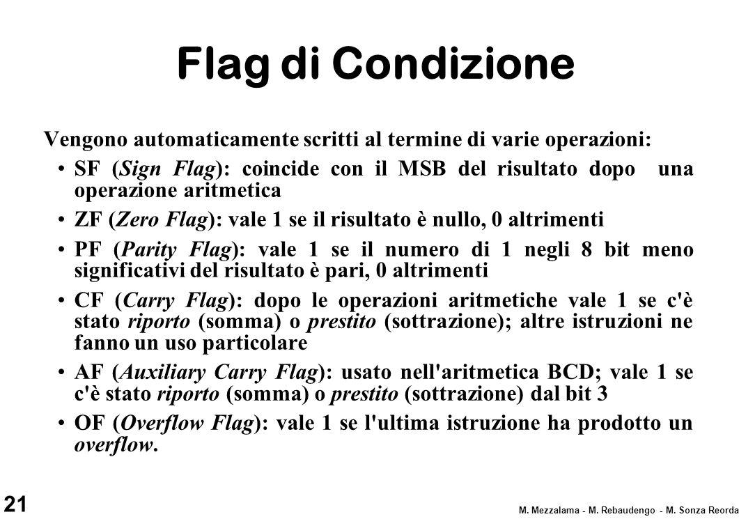 21 M. Mezzalama - M. Rebaudengo - M. Sonza Reorda Flag di Condizione Vengono automaticamente scritti al termine di varie operazioni: SF (Sign Flag): c