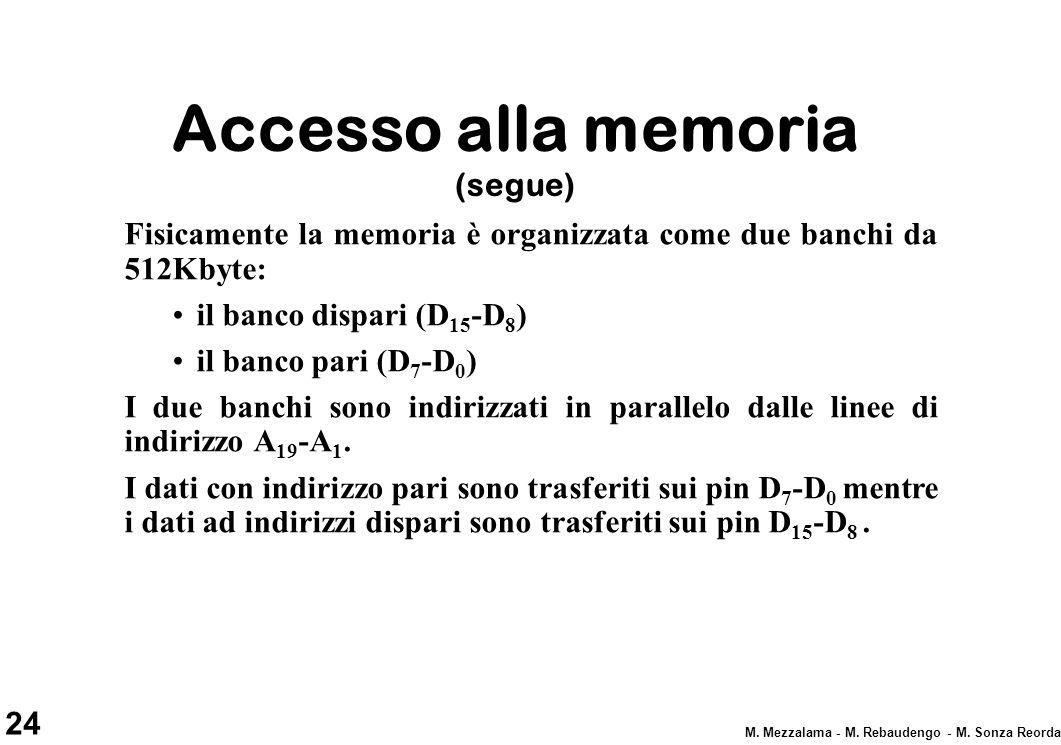 24 M. Mezzalama - M. Rebaudengo - M. Sonza Reorda Accesso alla memoria (segue) Fisicamente la memoria è organizzata come due banchi da 512Kbyte: il ba
