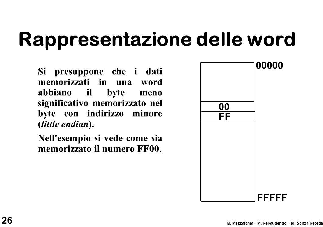 26 M. Mezzalama - M. Rebaudengo - M. Sonza Reorda Rappresentazione delle word Si presuppone che i dati memorizzati in una word abbiano il byte meno si