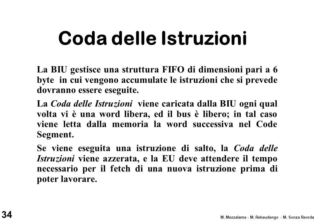 34 M. Mezzalama - M. Rebaudengo - M. Sonza Reorda Coda delle Istruzioni La BIU gestisce una struttura FIFO di dimensioni pari a 6 byte in cui vengono