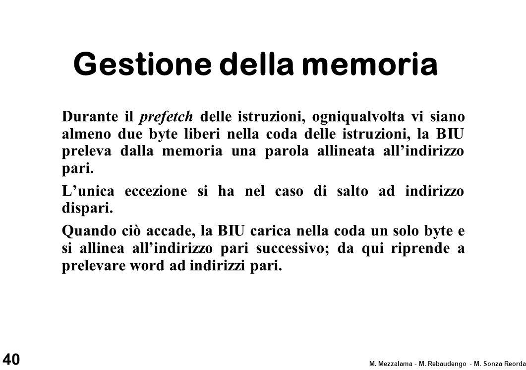 40 M. Mezzalama - M. Rebaudengo - M. Sonza Reorda Gestione della memoria Durante il prefetch delle istruzioni, ogniqualvolta vi siano almeno due byte