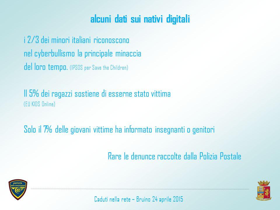 alcuni dati sui nativi digitali i 2/3 dei minori italiani riconoscono nel cyberbullismo la principale minaccia del loro tempo. (IPSOS per Save the Chi