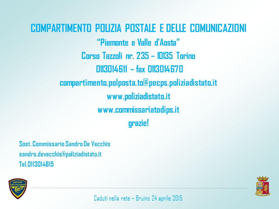 """COMPARTIMENTO POLIZIA POSTALE E DELLE COMUNICAZIONI """"Piemonte e Valle d'Aosta"""" Corso Tazzoli nr. 235 – 10135 Torino 0113014611 – fax 0113014670 compar"""