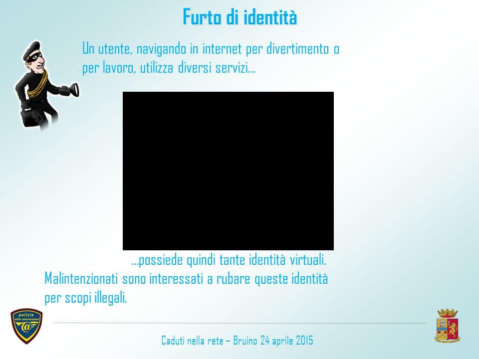 Un utente, navigando in internet per divertimento o per lavoro, utilizza diversi servizi… …possiede quindi tante identità virtuali. Malintenzionati so