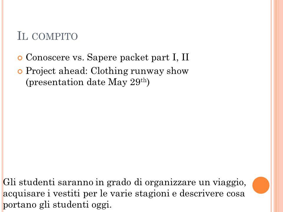 I L COMPITO Conoscere vs.