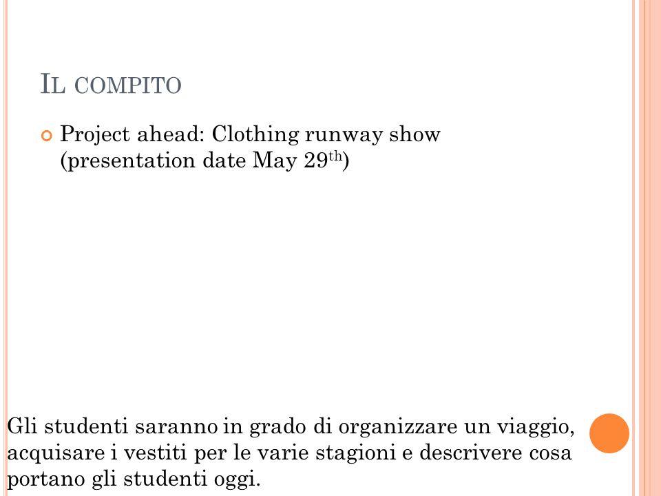I L COMPITO Project ahead: Clothing runway show (presentation date May 29 th ) Gli studenti saranno in grado di organizzare un viaggio, acquisare i vestiti per le varie stagioni e descrivere cosa portano gli studenti oggi.
