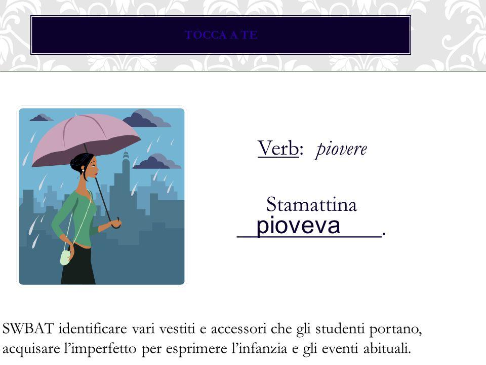 TOCCA A TE Verb: piovere Stamattina _____________.