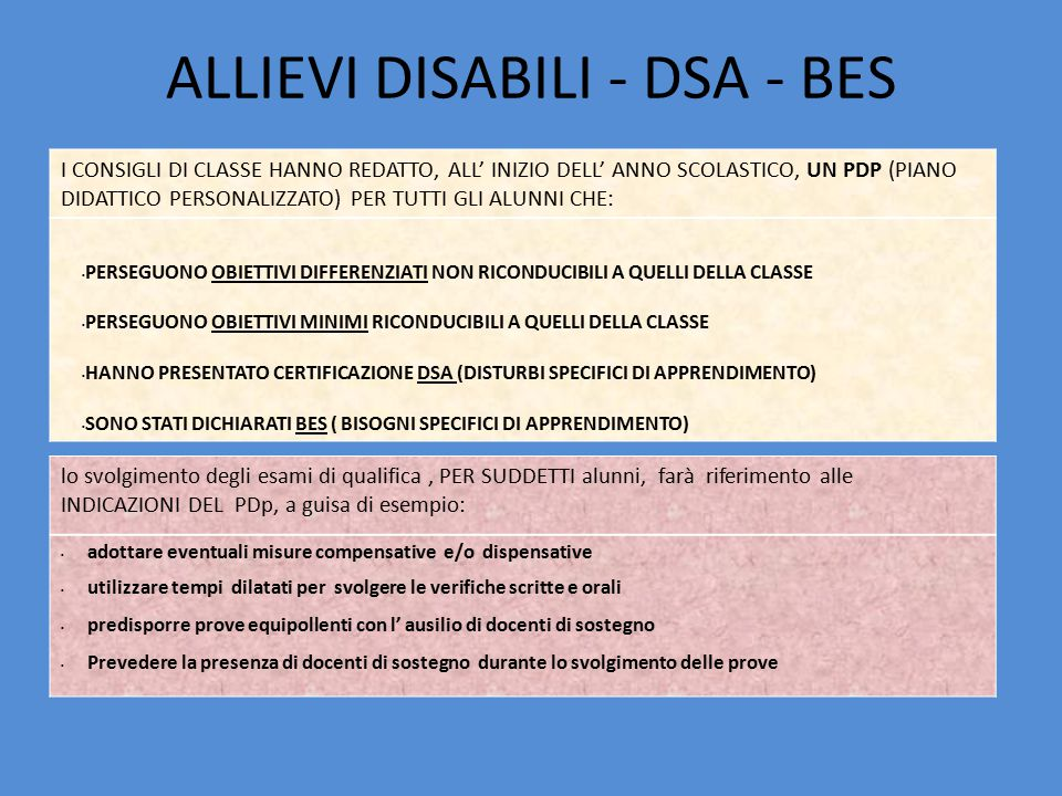 ALLIEVI DISABILI - DSA - BES I CONSIGLI DI CLASSE HANNO REDATTO, ALL' INIZIO DELL' ANNO SCOLASTICO, UN PDP (PIANO DIDATTICO PERSONALIZZATO) PER TUTTI