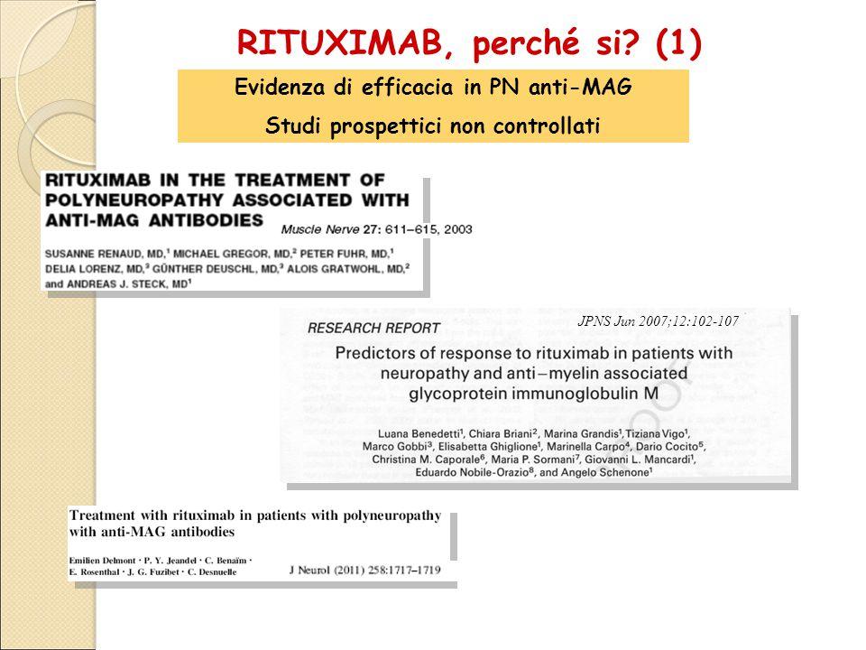 JPNS Jun 2007;12:102-107 RITUXIMAB, perché si? (1) Evidenza di efficacia in PN anti-MAG Studi prospettici non controllati