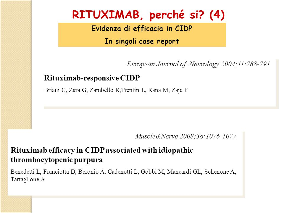 Muscle&Nerve 2008;38:1076-1077 Rituximab efficacy in CIDP associated with idiopathic thrombocytopenic purpura Benedetti L, Franciotta D, Beronio A, Ca