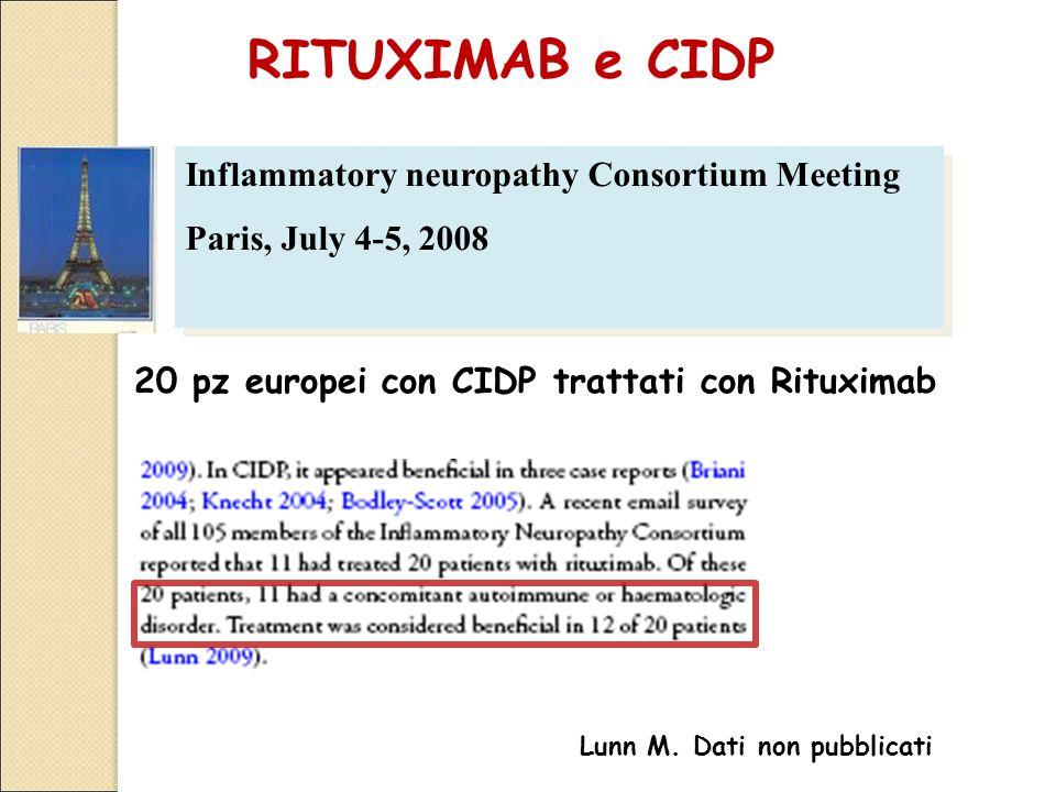 Inflammatory neuropathy Consortium Meeting Paris, July 4-5, 2008 Inflammatory neuropathy Consortium Meeting Paris, July 4-5, 2008 20 pz europei con CIDP trattati con Rituximab Lunn M.