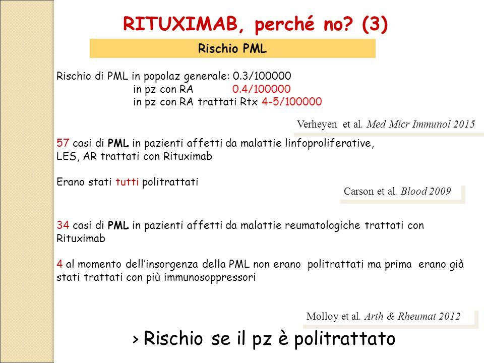 RITUXIMAB, perché no? (3) Rischio PML 57 casi di PML in pazienti affetti da malattie linfoproliferative, LES, AR trattati con Rituximab Erano stati tu