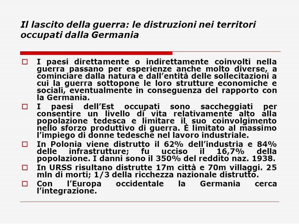 Il lascito della guerra: le distruzioni nei territori occupati dalla Germania  I paesi direttamente o indirettamente coinvolti nella guerra passano p