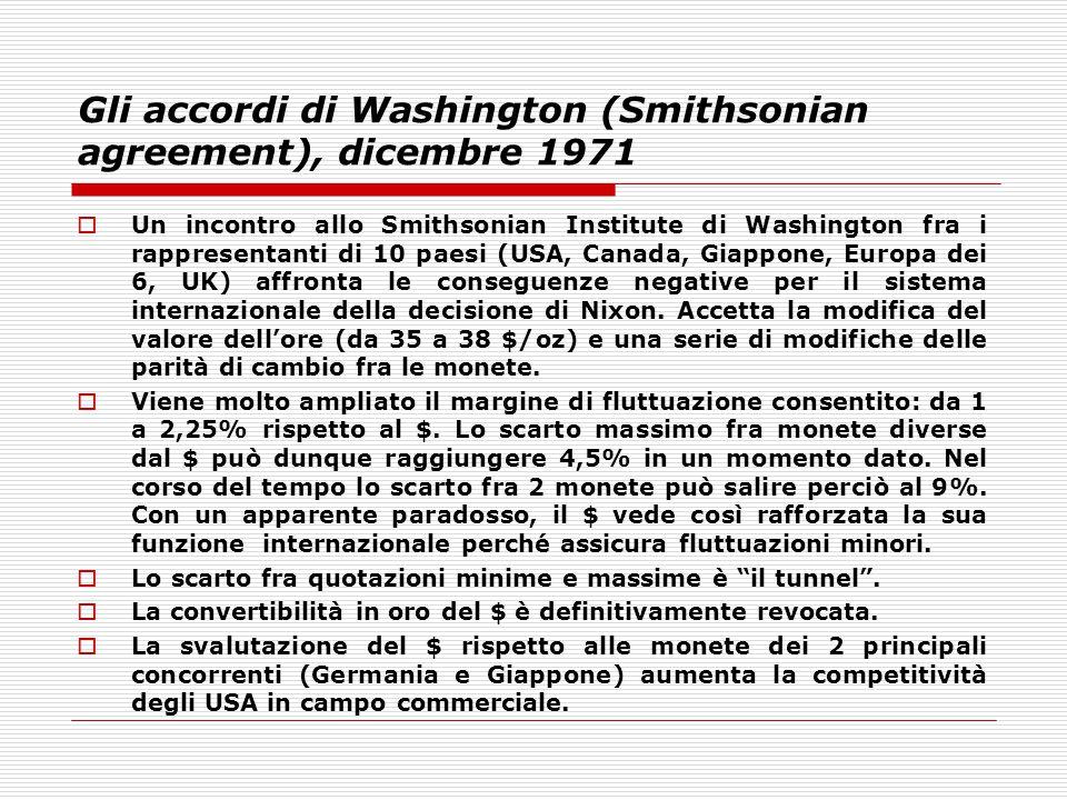 Gli accordi di Washington (Smithsonian agreement), dicembre 1971  Un incontro allo Smithsonian Institute di Washington fra i rappresentanti di 10 pae