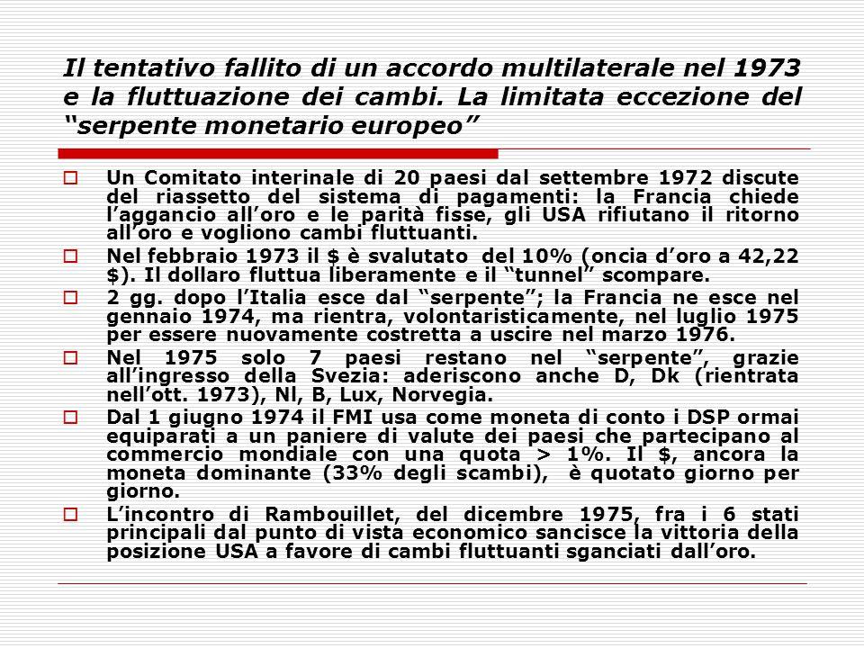 """Il tentativo fallito di un accordo multilaterale nel 1973 e la fluttuazione dei cambi. La limitata eccezione del """"serpente monetario europeo""""  Un Com"""