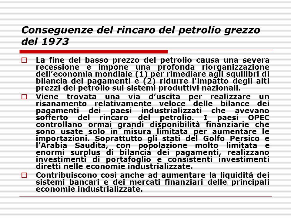Conseguenze del rincaro del petrolio grezzo del 1973  La fine del basso prezzo del petrolio causa una severa recessione e impone una profonda riorgan