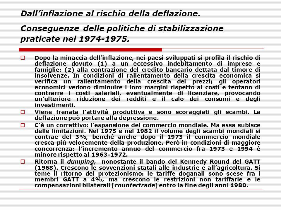 Dall'inflazione al rischio della deflazione. Conseguenze delle politiche di stabilizzazione praticate nel 1974-1975.  Dopo la minaccia dell'inflazion