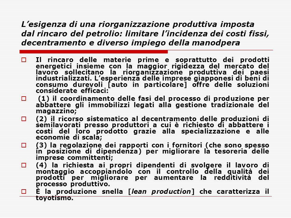L'esigenza di una riorganizzazione produttiva imposta dal rincaro del petrolio: limitare l'incidenza dei costi fissi, decentramento e diverso impiego