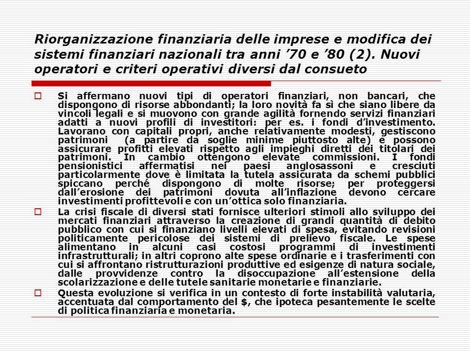 Riorganizzazione finanziaria delle imprese e modifica dei sistemi finanziari nazionali tra anni '70 e '80 (2). Nuovi operatori e criteri operativi div