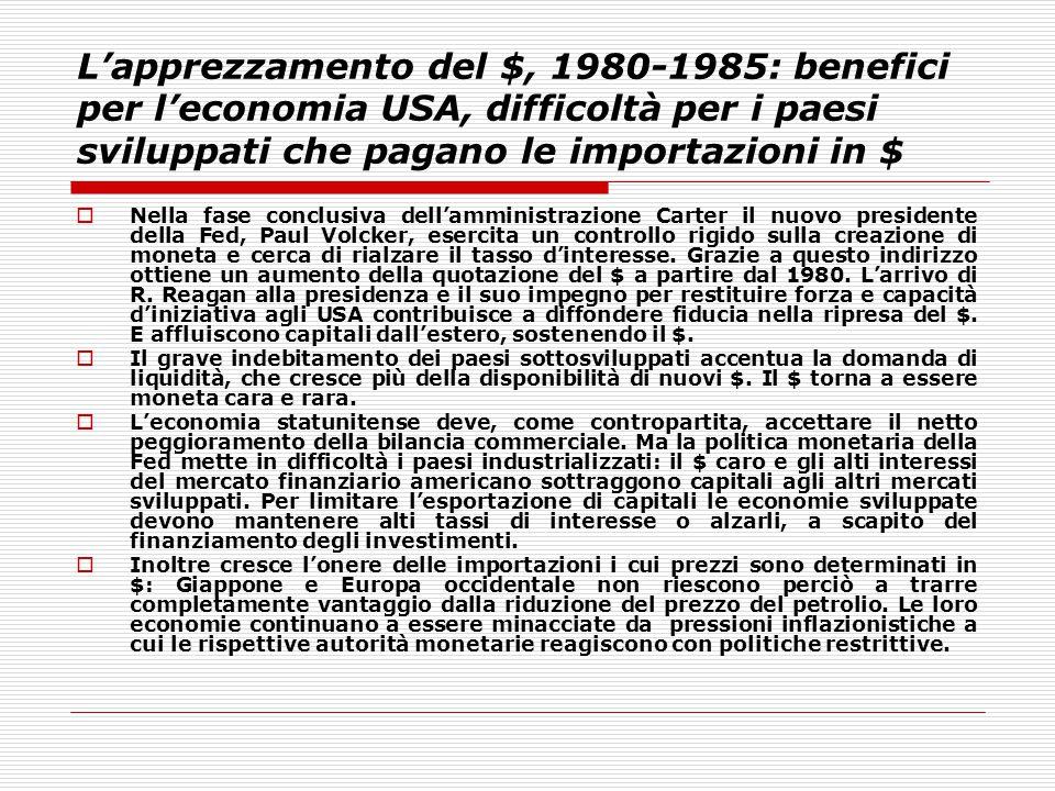 L'apprezzamento del $, 1980-1985: benefici per l'economia USA, difficoltà per i paesi sviluppati che pagano le importazioni in $  Nella fase conclusi