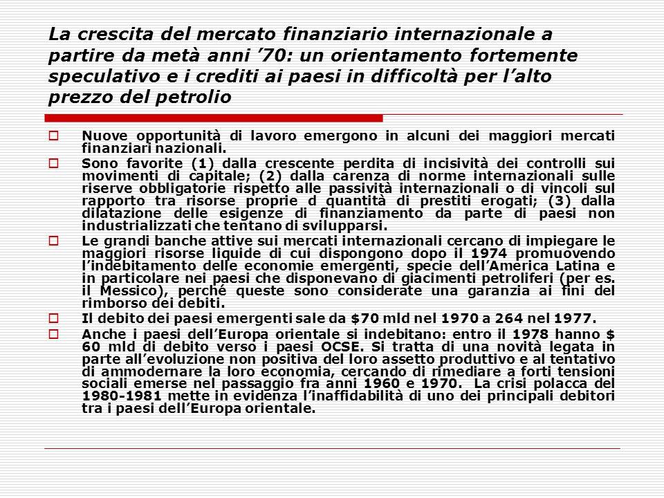 La crescita del mercato finanziario internazionale a partire da metà anni '70: un orientamento fortemente speculativo e i crediti ai paesi in difficol