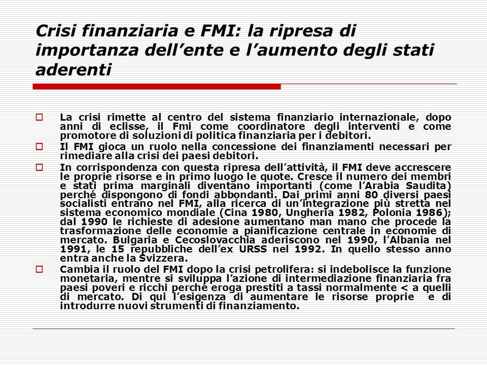 Crisi finanziaria e FMI: la ripresa di importanza dell'ente e l'aumento degli stati aderenti  La crisi rimette al centro del sistema finanziario inte