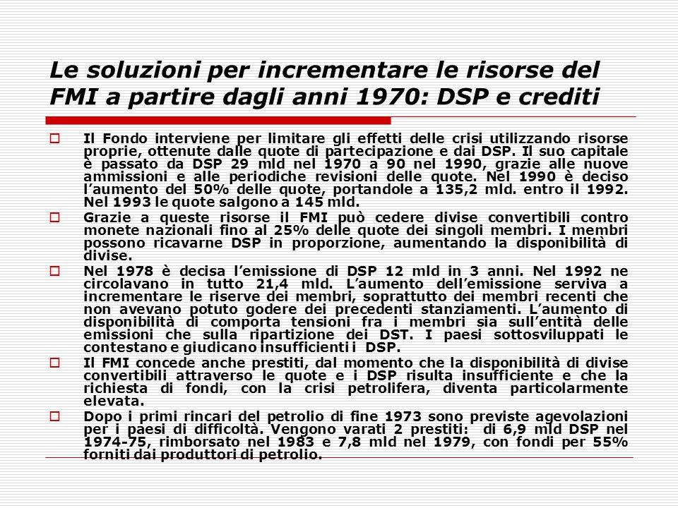 Le soluzioni per incrementare le risorse del FMI a partire dagli anni 1970: DSP e crediti  Il Fondo interviene per limitare gli effetti delle crisi u