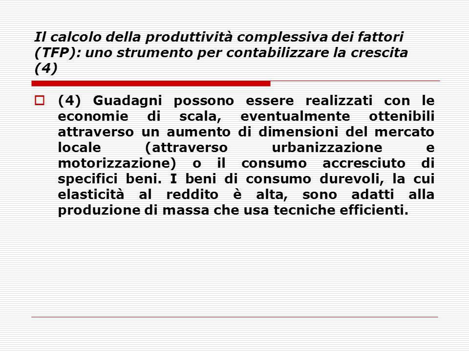 Il calcolo della produttività complessiva dei fattori (TFP): uno strumento per contabilizzare la crescita (4)  (4) Guadagni possono essere realizzati