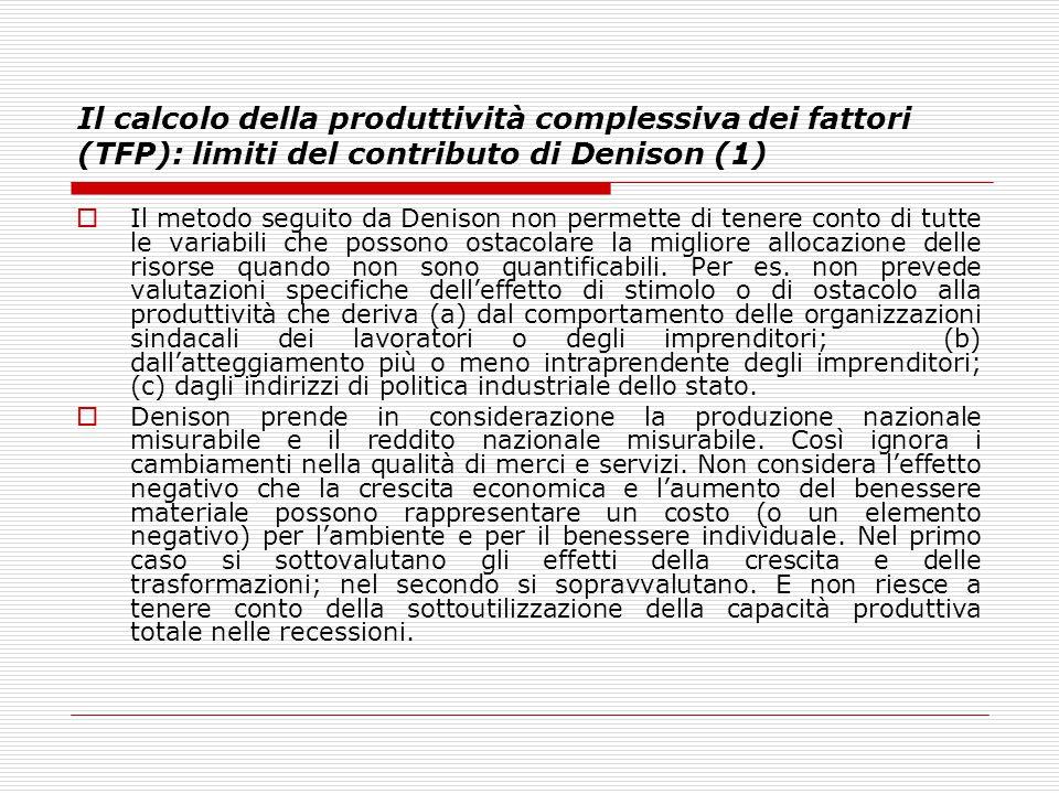 Il calcolo della produttività complessiva dei fattori (TFP): limiti del contributo di Denison (1)  Il metodo seguito da Denison non permette di tener