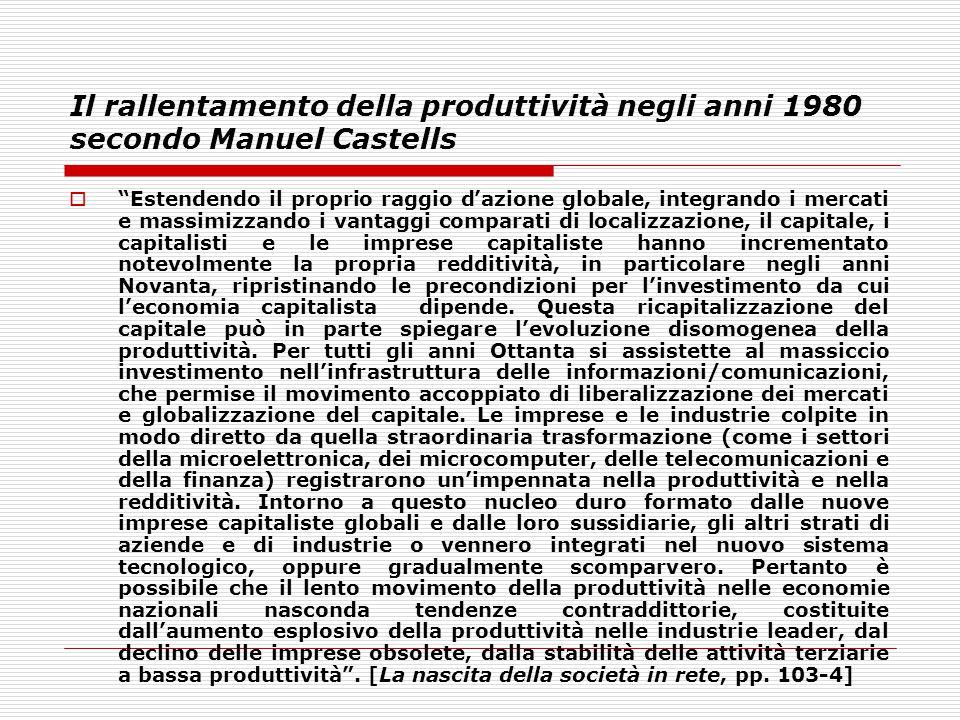 """Il rallentamento della produttività negli anni 1980 secondo Manuel Castells  """"Estendendo il proprio raggio d'azione globale, integrando i mercati e m"""